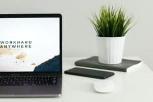 MacBook Pro near green potted plant on table