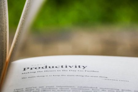 selective focus photography of Productivity printed book